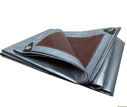 Heavy Duty Water Proof UV Resistant PVC Tarpaulin Silver And Brown